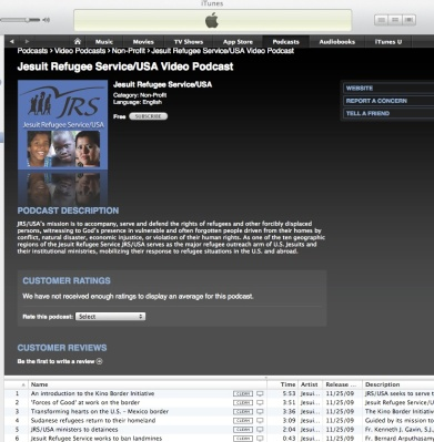 The JRS/USA Video Podcast page in iTunes.